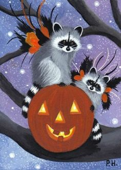 ACEO Print Raccoon Fairy Halloween Pumpkin Stars | eBay,,So Beautiful,,,,