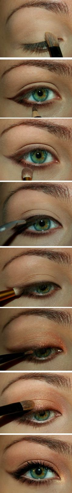 maquillage doré, tutoriel maquillage yeux verts