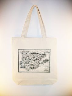 Vintage Map of Spain Image on 15x15 Canvas Tote by Whimsybags, $12.00