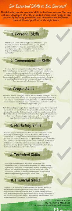 6 Essential Skills For Business Success [infographic] business tips, business success Business Planning, Business Tips, Business Infographics, Online Business, Leadership, Great Entrepreneurs, Web Design, Career Development, Communication Skills