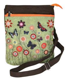 This Green & Orange Butterflies Crossbody Bag for Tablets by Passion for Fashion is perfect! #zulilyfinds I yikes!  Easy on the go