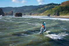 "River? Looks more like the sea! ""Levi Siver windsurfing on the Pistol River, Oregon."" #windsurfing #travel #pistolriver #oregon - actiontripguru.com"