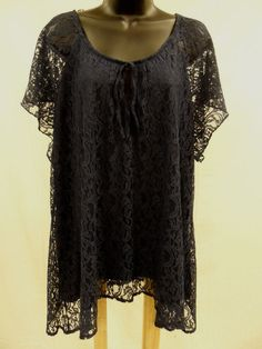 Plus Size 3X SHEER LACE Top STRETCH Shirt LINED Blouse PEASANT Feminine    NWT…