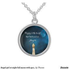 Angel girl at night full moon with quote round pendant necklace. Happy is the heart that believes in angels