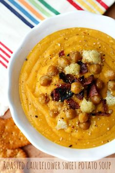 Roasted Cauliflower Sweet Potato Soup- the perfect light lunch or dinner that accommodates any special diet; vegan, gluten-free and allergy-friendly!