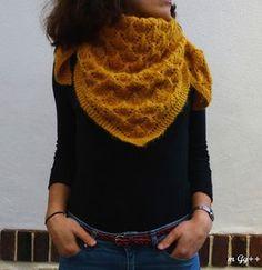 Un châle moutarde au tricot... (Aiguille n°4,5 ) par m Gg++