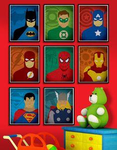 Superhero poster set 8X10 Superman Flash Batman by POSTERSHOT