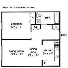 Floor Plan Under 500 Sq Ft | Standard Floor Plan  One Bedroom Apartment U2013  $505.00 Per Person Per ... | Small Space Living Ideas   For Me | Pinterest  ...