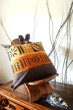 African multi strip Mud cloth pillow cover by KLEMYAbyklink, $69.99 Have several African textiled pillows.