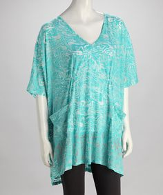 Take a look at this Turquoise Jungle Burnout Hi-Low Top by Kial on #zulily today!