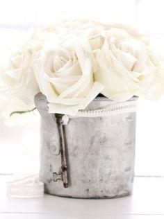 ❖Blanc❖ White roses tin bucket