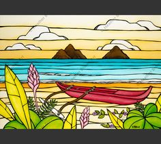 Lanikai Daydream by Hawaii Surf Artist Heather Brown www.HeatherBrownArt.com #heatherbrown #surfart #lanikai #outrigger #hawaii