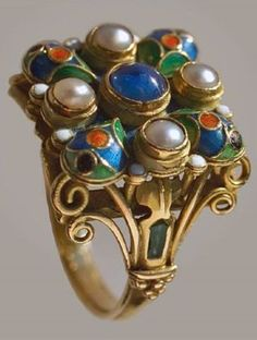 An Arts and Crafts ring, by Henry George Murphy, circa Gold, enamel, sapphire and pearls. Unusual Rings, Unusual Jewelry, Old Jewelry, Enamel Jewelry, Ethnic Jewelry, Jewelry Crafts, Jewelry Art, Antique Jewelry, Vintage Jewelry