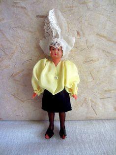 French Celluloid Vendée (Sables D'Olonne) costume doll, folk doll, vintage, s.n.f., France