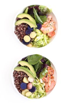 Easy, gluten free recipe for slow roasted salmon and quinoa bowl from Clean Food Dirty City.