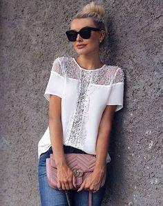 Ideas for dress lace black shirts Fashion 2020, Diy Fashion, Ideias Fashion, Fashion Outfits, Womens Fashion, Blouse Styles, Blouse Designs, Elegant Style Women, Colorful Fashion