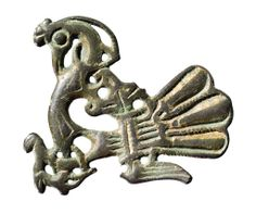 Brooch in the form of a peacock, 11th cent AD, silver. Toftegård, Vindinge…