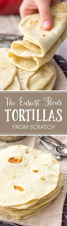 Easy Flour Tortillas From Scratch These easy homemade flour tortillas will take tacos, enchiladas, burritos, and more to the next level with simple ingredients. Use your hands or an electric mixer to make them from scratch with just 5 simple ingredients. I Love Food, Good Food, Yummy Food, Tasty, Mexican Dishes, Mexican Food Recipes, Mexican Desserts, Tortilla Recipes, Drink Recipes