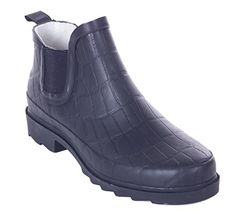 Women Rubber 7 Ankle Rain Boots Groovy 8 * For more information, visit image link.