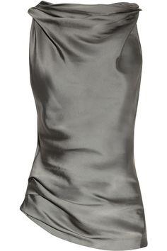 Donna Karan Cowl-neck matte-satin and jersey top