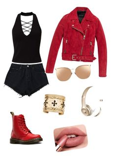 """""""red"""" by estherbc on Polyvore featuring Miss Selfridge, Andrew Marc, Dr. Martens, Linda Farrow, Aurélie Bidermann and Beats by Dr. Dre"""