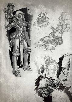 augmentation imperium info mechanicus monochrome savier sisters_of_battle sketch techpriest