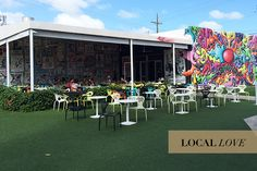Wynwood Kitchen & Bar.  Eat outside on the grassy nation and enjoy this landmark art park.