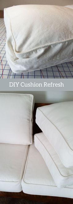 Simple how-to instructions for making the back cushions on your sofa and armchair look new again.