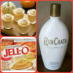 Rumchata Pumpkin Spice Jello Shots [Mix together c milk, c Rumchata, 1 small package of pumpkin spice pudding; Add an 8 oz Cool Whip tub slowly; Pour into shot glasses; Freeze for 2 hours] (mixed alcoholic drinks jello shots) Fall Drinks, Holiday Drinks, Party Drinks, Cocktail Drinks, Alcoholic Drinks, Mixed Drinks, Thanksgiving Drinks, Shots Drinks, Cocktail Recipes