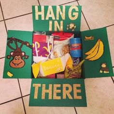 Banana/ monkey theme d, V eployment care package.~ I added banana flavored candy, the game Barrel of Monkeys, and banana boxers! Hang in there! Missionary Care Packages, Deployment Care Packages, Military Care Packages, Homemade Gifts, Diy Gifts, Barrel Of Monkeys, Care Box, Care Care, College Gifts