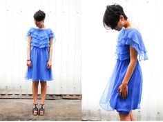 pinshop: Синее шифоновое платье с рюшами, 80-е