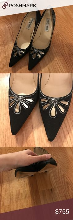 Jimmy choo black pointed rhinestone heels Excellent condition, there are only 2 tiny rhinestones missing on the shoes, I have added photos. The point of the shoes are a little damaged. Gorgeous shoes, I loved these, I haven't worn them in over a year. Please send offers via offer button ONLY. Jimmy Choo Shoes Heels