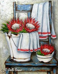 Art by Stella Bruwer white enamel bucket with 2 large red and white flowers white cloth with red stripe. Stack of enamel bowls it one large red and white flower blue shabby chair with another white cloth with red stripe Protea Art, Decoupage Vintage, Art Floral, Stella Art, Tole Painting, Painting & Drawing, Images Vintage, Still Life Art, Country Art