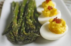 Asparagus With Lemon Oil and Deviled Eggs With Bacon #arborproducts #arboroil #lemonoil
