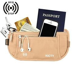Travel Money Belt Running Waist Pack RFID Passport Holder Hidden Security Wallet ** More info could be found at the image url.