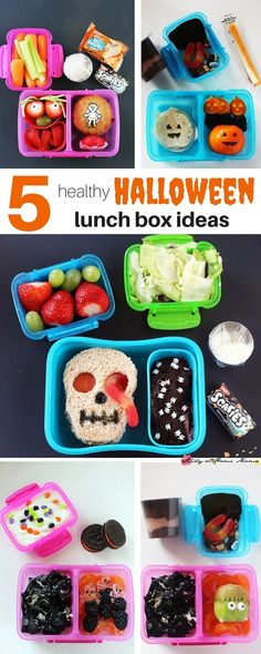 5 Healthy Halloween Lunch Box Ideas - everything from make-ahead lunches, to options to help fill out pizza day. 5 Spooky and Healthy Lunches your kids will love!