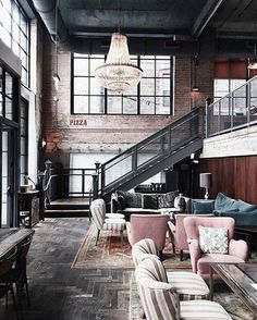 Industrial Glam nailed by our new favorite Instagram account @industrial_interior - blush & teal velvet seating topped off with a crystal chandelier | Steph #thestylephiles #designer #inspiration #inspire #home #decor #decorate #interiors #interiordesign #obsessed #style #interiorstyle #interiorlovers #interior4all #decor #interiorinspiration #interior123 #sharemystyle #homestyling #homebeautiful #stylemyhome #homeinspo #dreamhome #homegoals #industrial #velvet #blush #pink #teal #warehouse
