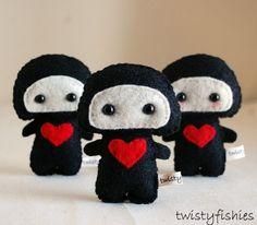 I ❤ You Ninja Plushies by twistyfishies...adorb!