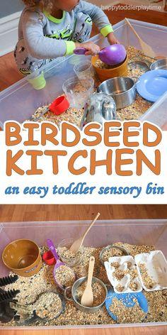 BIRDSEED KITCHEN SENSORY BIN – HAPPY TODDLER PLAYTIME