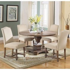 Round Dining Room Table And Chairs. This awesome picture selections about Round Dining Room Table And Chairs is accessible to save. Round Wood Kitchen Table, Round Dining Table Sets, Nook Dining Set, Solid Wood Dining Set, 5 Piece Dining Set, Dining Table Chairs, Dining Furniture, Dining Rooms, Kitchen Ideas