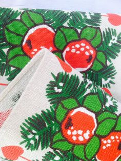 Swedish vintage christmas table runner with a fantastic retro pattern