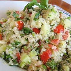 "Quinoa Tabbouleh Salad | ""Cool, refreshing vegetarian salad. Great for picnics! You can substitute water for the vegetable broth, if desired."""