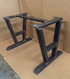 Turned A-Shaped Modern Steel Base, Design Steel Table Legs + 1 Cross Brace, Modern Industrial Sturdy Dining Table Base