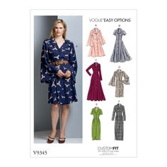 Buy Vogue Easy Options Women's Dress Sewing Pattern, 9345 from our Sewing Patterns range at John Lewis & Partners. Vogue Sewing Patterns, Vintage Sewing Patterns, Miss Dress, Straight Skirt, Sewing Projects For Beginners, Sewing Clothes, Clothes Patterns, Ideias Fashion, Dresses