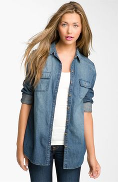 Simple. Rubbish® Chambray Boyfriend Shirt (Juniors) available at #Nordstrom