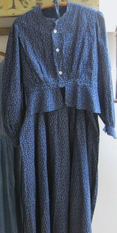 Antique Blue Calico Skirt and Top Blouse Set Wearable Early Old Primitive Cabin | eBay