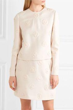 Valentino - Floral-appliquéd Wool And Silk-blend Crepe Top - Ivory - IT44