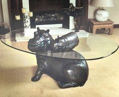 hippo coffee table   hippo+baby coffee table! painted ice blue ? gorgeous.