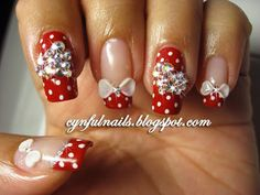 Red polka dot Minnie Mouse nails!