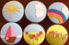 Happy cupcakes Cupcake Frosting, Fondant Cupcakes, Cupcake Cakes, Spring Cupcakes, Holiday Cupcakes, Cake Recipes, Dessert Recipes, Desserts, Fondant Decorations